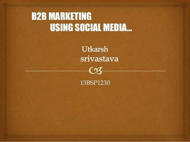 13BSP1230 B2B MARKETING USING SOCIAL MEDIA…