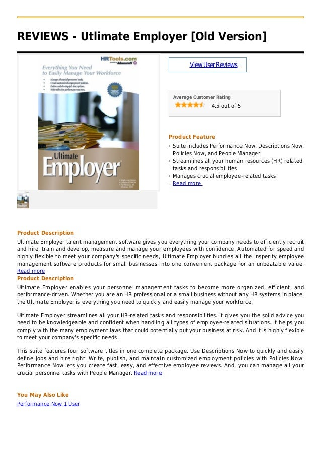 REVIEWS - Utlimate Employer [Old Version]ViewUserReviewsAverage Customer Rating4.5 out of 5Product FeatureSuite includes P...