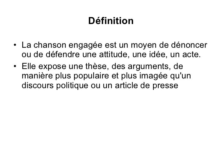 definition chanson engagee