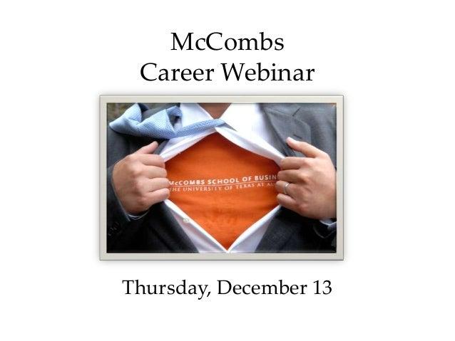 McCombsCareer WebinarThursday, December 13