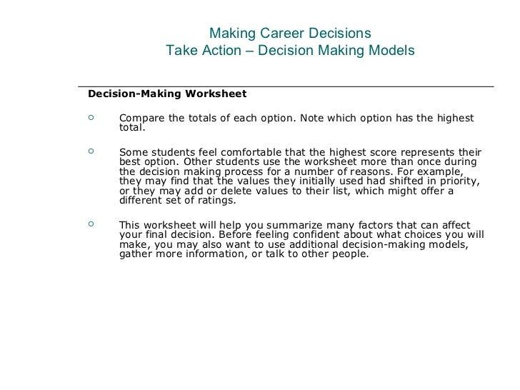 Making Career Decisions – Decision Making Worksheet