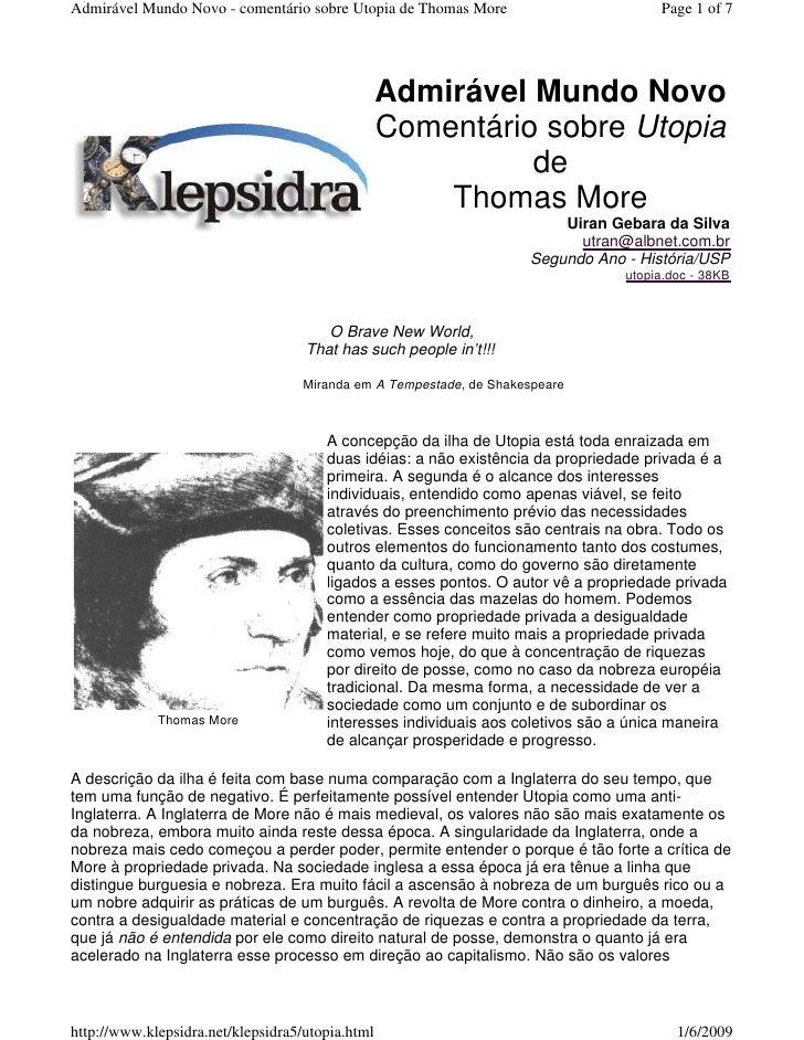 Admirável Mundo Novo - comentário sobre Utopia de Thomas More                        Page 1 of 7                          ...