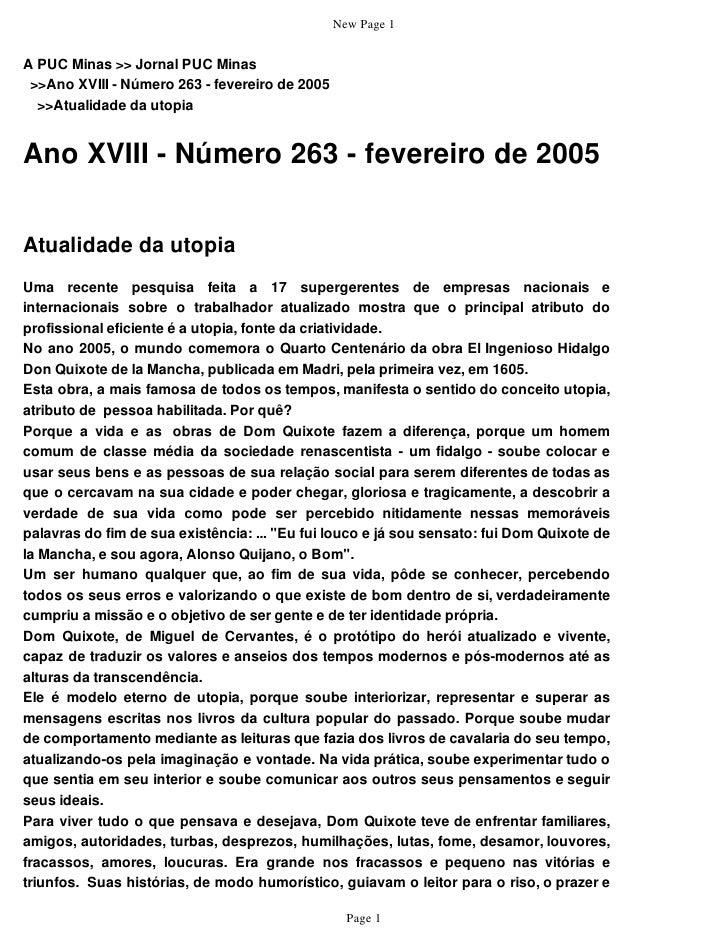 New Page 1   A PUC Minas >> Jornal PUC Minas  >>Ano XVIII - Número 263 - fevereiro de 2005   >>Atualidade da utopia   Ano ...