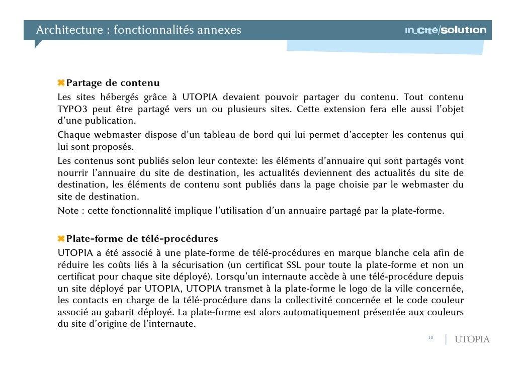 Architecture : présentation générale<br />L'administrateur souhaitant utiliser UTOPIA devra disposer des éléments suivants...