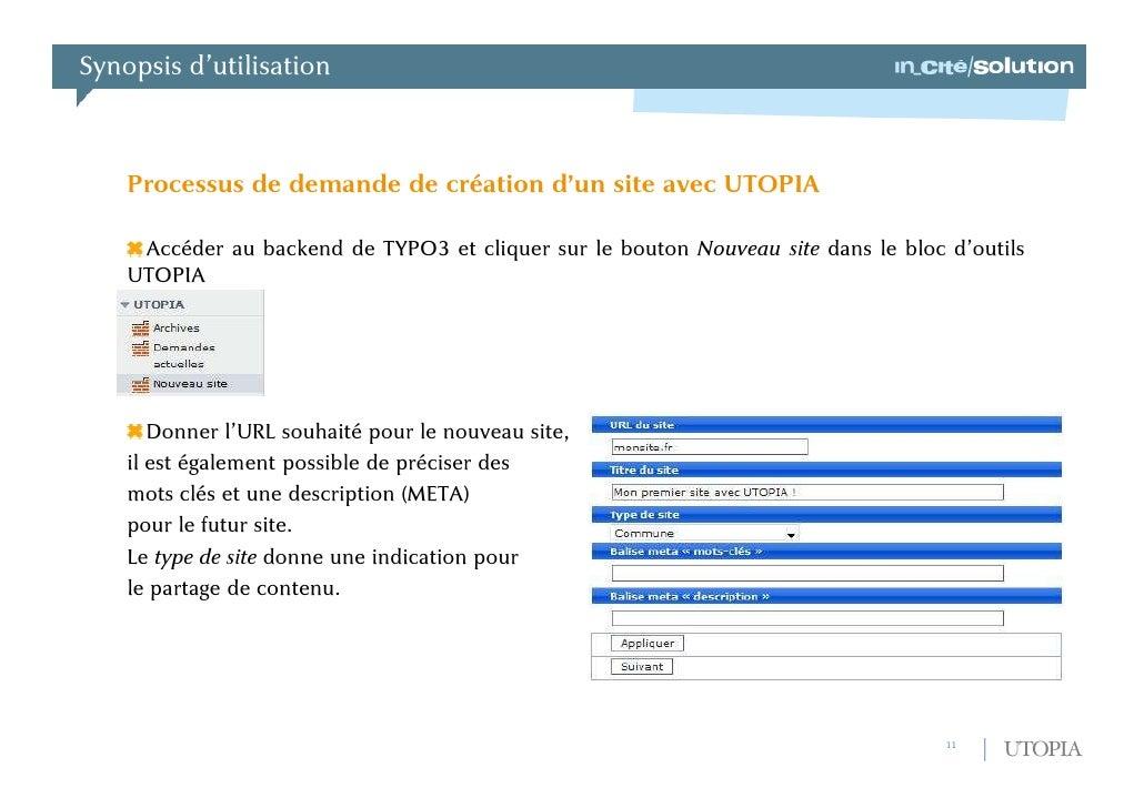 Architecture : fonctionnalités annexes<br />Partage de contenu<br />Les sites hébergés grâce à UTOPIA devaient pouvoir par...