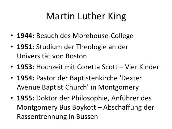 Martin Luther King<br />1944: Besuch des Morehouse-College<br />1951: Studium der Theologie an der Universität von Boston<...