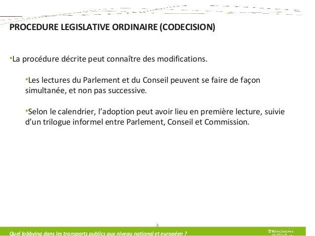 PROCEDURE LEGISLATIVE ORDINAIRE (CODECISION) •La procédure décrite peut connaître des modifications. •Les lectures du Parl...