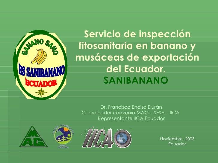 Servicio de inspección fitosanitaria en banano y musáceas de exportación del Ecuador.  SANIBANANO  Noviembre, 2003 Ecuador...