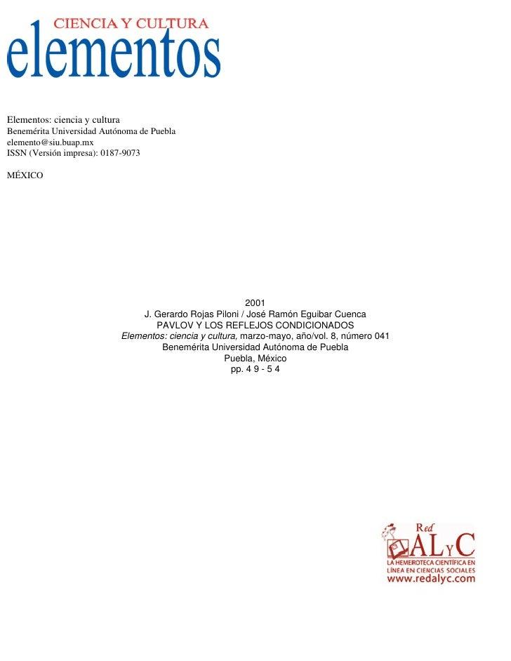 Elementos: ciencia y cultura Benemérita Universidad Autónoma de Puebla elemento@siu.buap.mx ISSN (Versión impresa): 0187-9...
