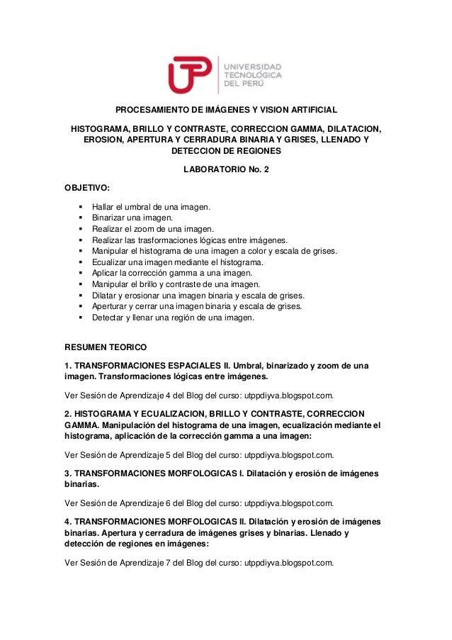 PROCESAMIENTO DE IMÁGENES Y VISION ARTIFICIAL  HISTOGRAMA, BRILLO Y CONTRASTE, CORRECCION GAMMA, DILATACION,  EROSION, APE...