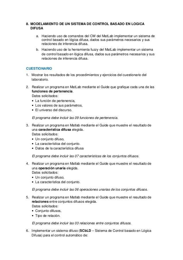 8. MODELAMIENTO DE UN SISTEMA DE CONTROL BASADO EN LOGICA  DIFUSA  a. Haciendo uso de comandos del CW del MatLab implement...
