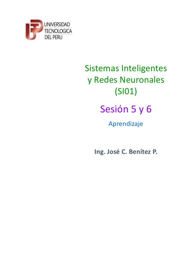 Sistemas Inteligentes y Redes Neuronales       (SI01)    Sesión 5 y 6       Aprendizaje  Ing. José C. Benítez P.