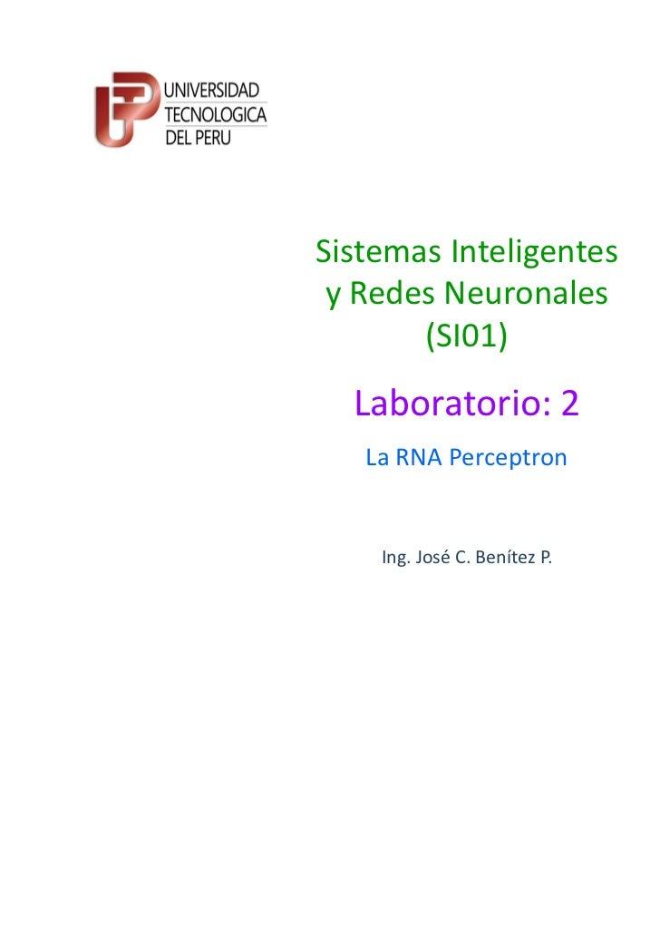 Sistemas Inteligentes y Redes Neuronales       (SI01)  Laboratorio: 2   La RNA Perceptron    Ing. José C. Benítez P.