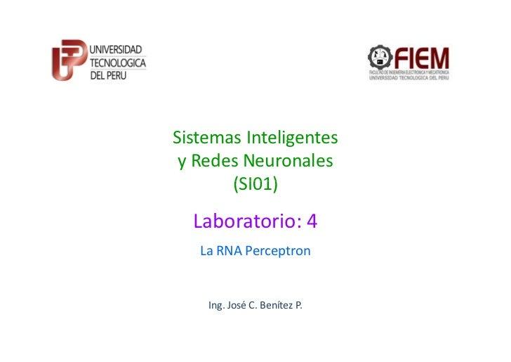 Sistemas Inteligentes y Redes Neuronales       (SI01)  Laboratorio: 4   La RNA Perceptron    Ing. José C. Benítez P.