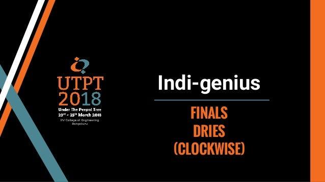 Indi-genius FINALS DRIES (CLOCKWISE)