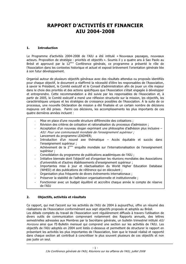 RAPPORT D'ACTIVITÉS ET FINANCIER                         AIU 2004-20081.        IntroductionLe Programme d'activités 2004-...