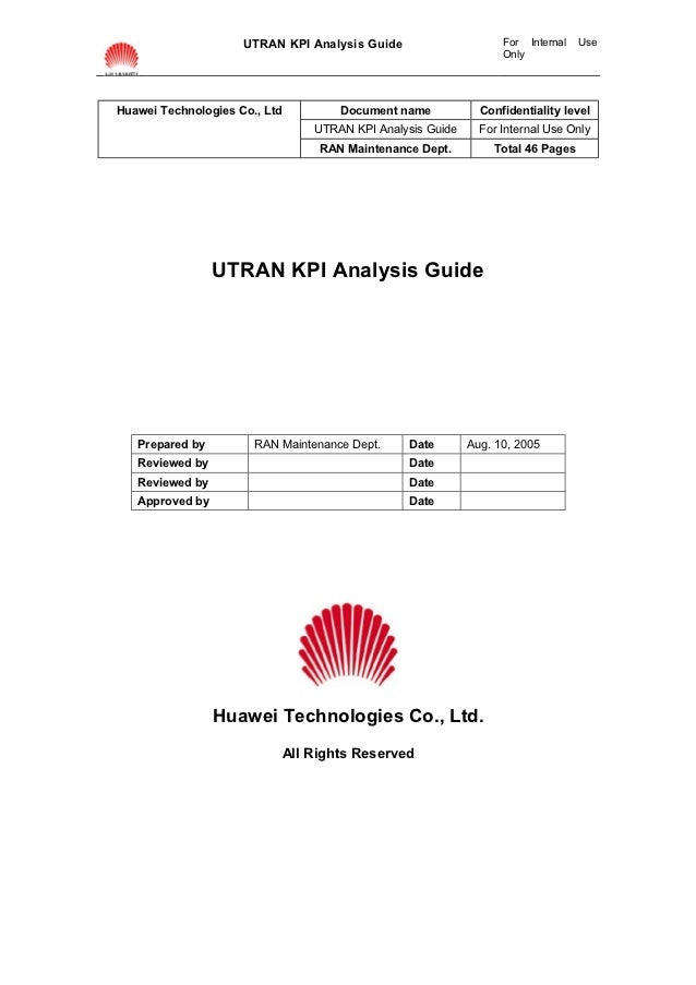 UTRAN KPI Analysis Guide                    For Internal   Use                                                            ...