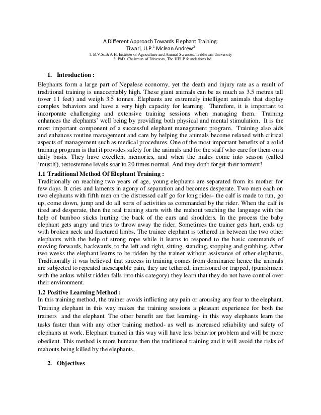 A Different Approach Towards Elephant Training:                                       Tiwari, U.P.1 Mclean Andrew2        ...