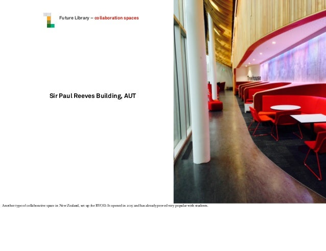 Future Library – collaboration spaces  Sir Paul Reeves Building, AUT  Another type of collaborative space in New Zealand, ...