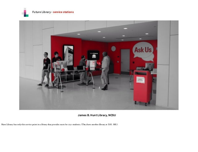 Future Library - service stations  James B. Hunt Library, NCSU Hunt Library has only this service point in a library that ...