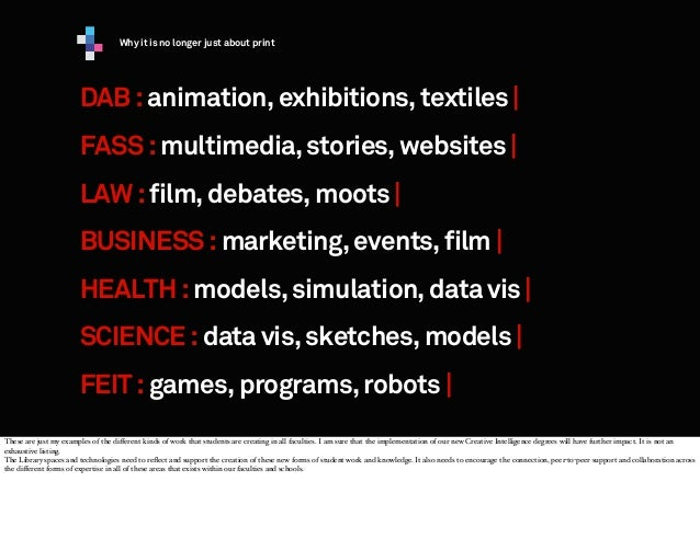 Why it is no longer just about print  DAB : animation, exhibitions, textiles | FASS : multimedia, stories, websites | LAW ...
