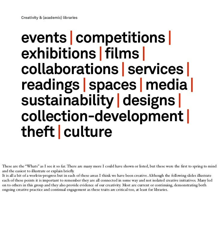 Creativity & (academic) libraries            events   competitions              exhibitions   films              collabora...