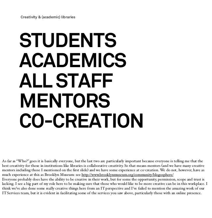 Creativity & (academic) libraries           STUDENTS           ACADEMICS           ALL STAFF           MENTORS           C...