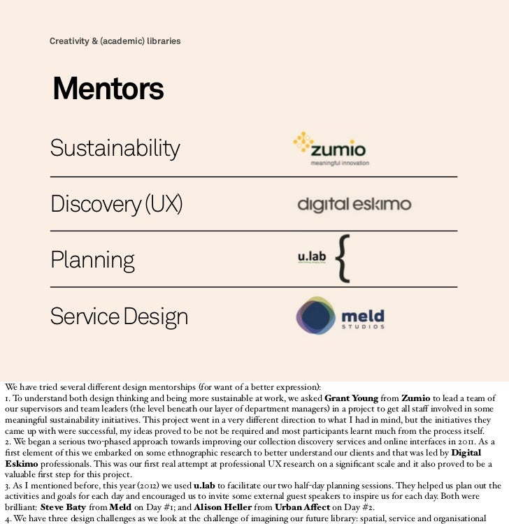 Creativity & (academic) libraries            Mentors            Sustainability            Discovery (UX)            Planni...