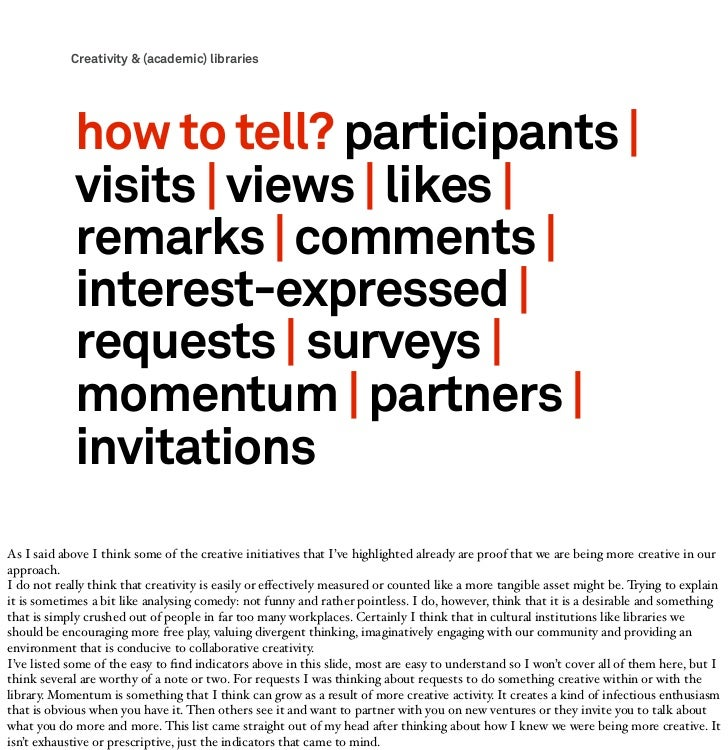Creativity & (academic) libraries            how to tell? participants              visits   views   likes              re...