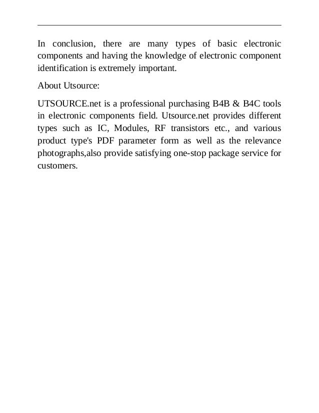 Utsource basic electronic components and their basic functions