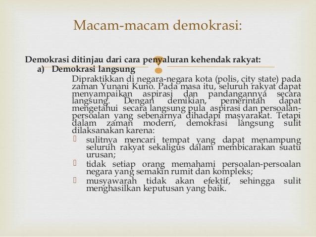 Sebutkan Macam Macam Demokrasi Ditinjau Dari Cara Rakyat ...