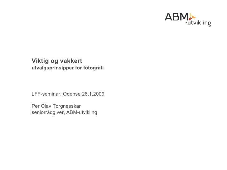 Viktig og vakkert utvalgsprinsipper for fotografi LFF-seminar, Odense 28.1.2009 Per Olav Torgnesskar seniorrådgiver, ABM-u...