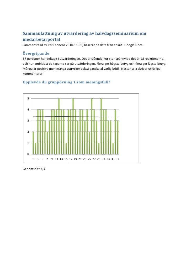 Sammanfattning av utvärdering av halvdagsseminarium ommedarbetarportalSammanställd av Pär Lannerö 2010                    ...