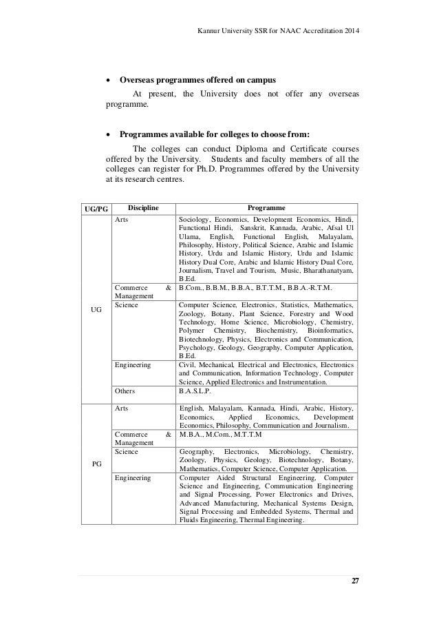 kannur university self study report for naac accreditation cycle i rh slideshare net