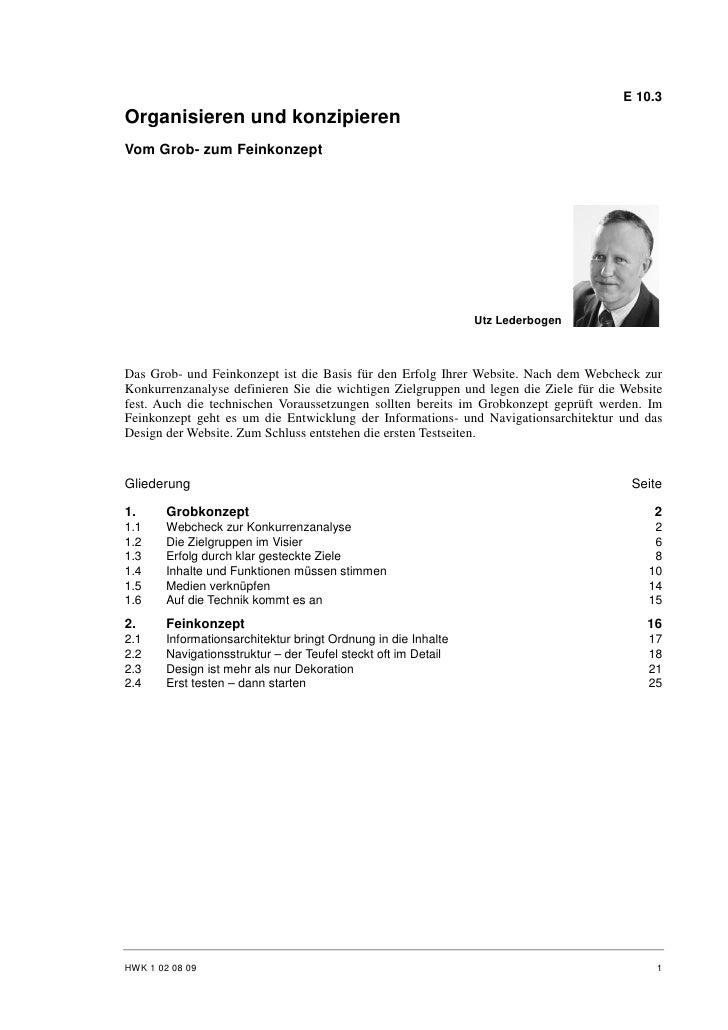 Utz Lederbogen: Organisieren und Konzipieren