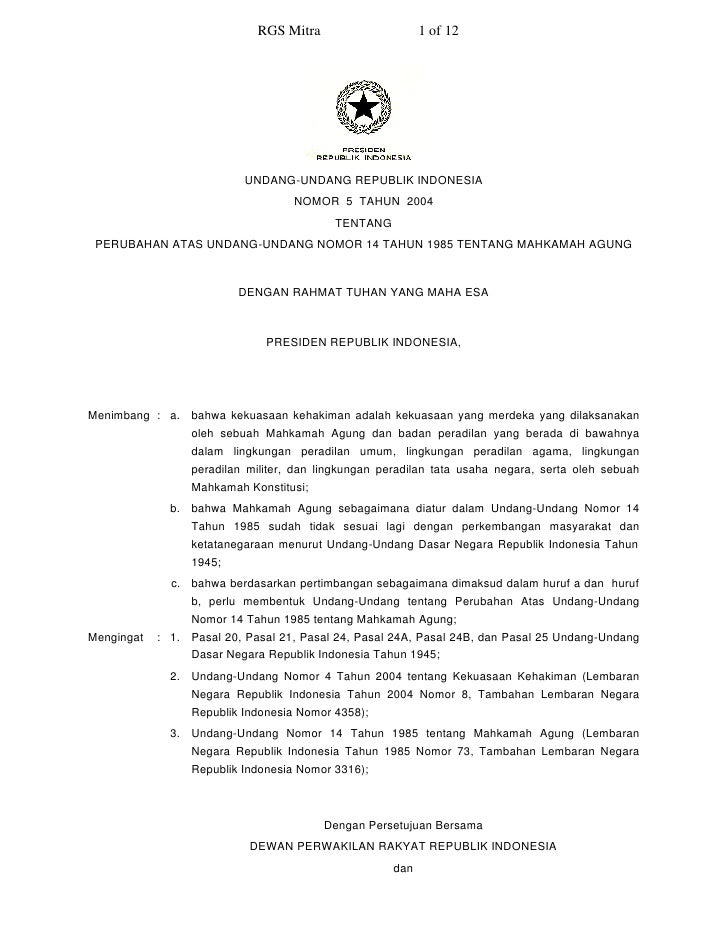 RGS Mitra                     1 of 12                                UNDANG-UNDANG REPUBLIK INDONESIA                     ...