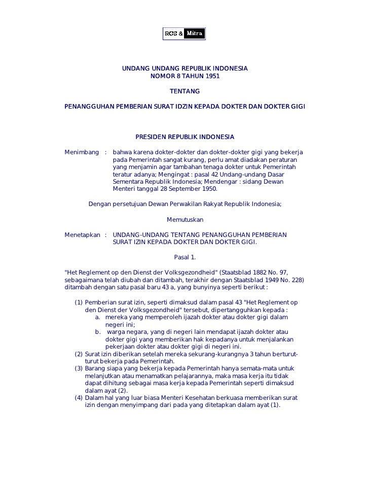 UNDANG UNDANG REPUBLIK INDONESIA                          NOMOR 8 TAHUN 1951                                     TENTANG  ...