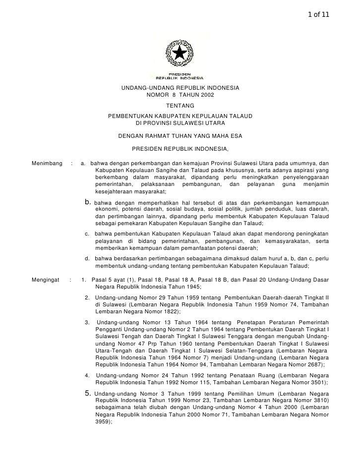 1 of 11                                    UNDANG-UNDANG REPUBLIK INDONESIA                                      NOMOR 8 T...