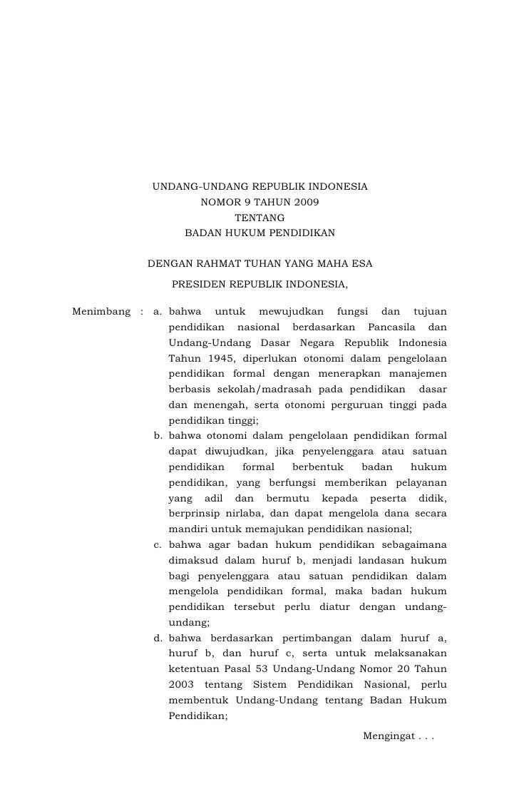 UNDANG-UNDANG REPUBLIK INDONESIA                      NOMOR 9 TAHUN 2009                               TENTANG            ...