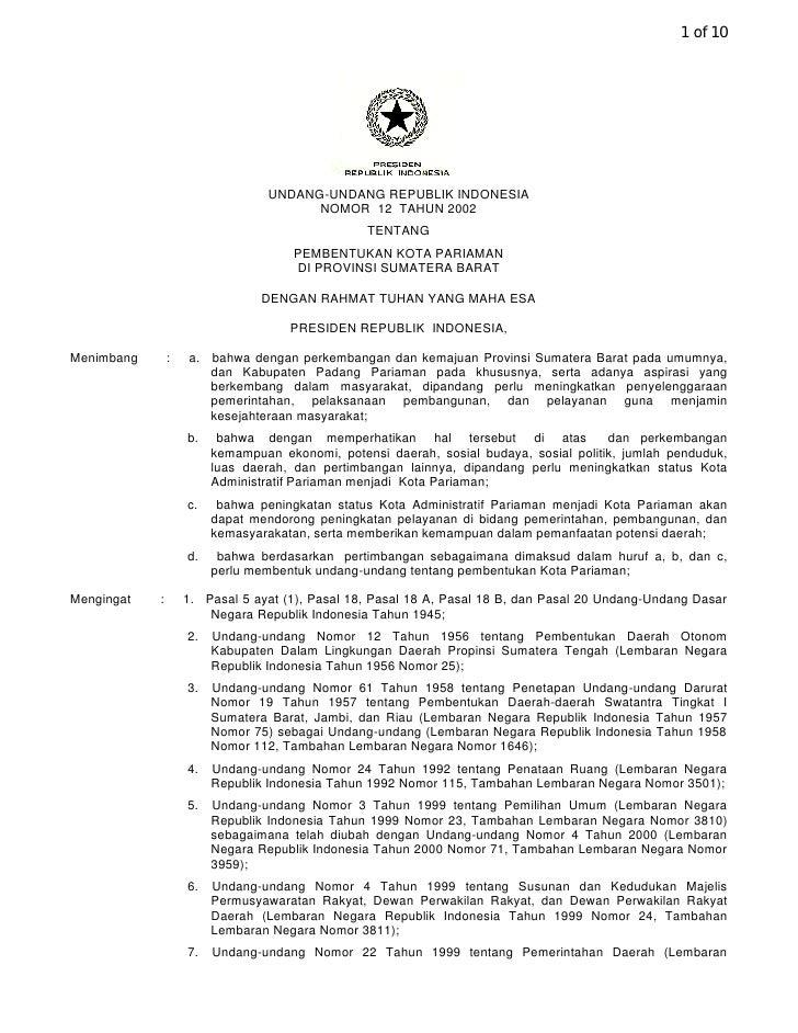1 of 10                                       UNDANG-UNDANG REPUBLIK INDONESIA                                         NOM...