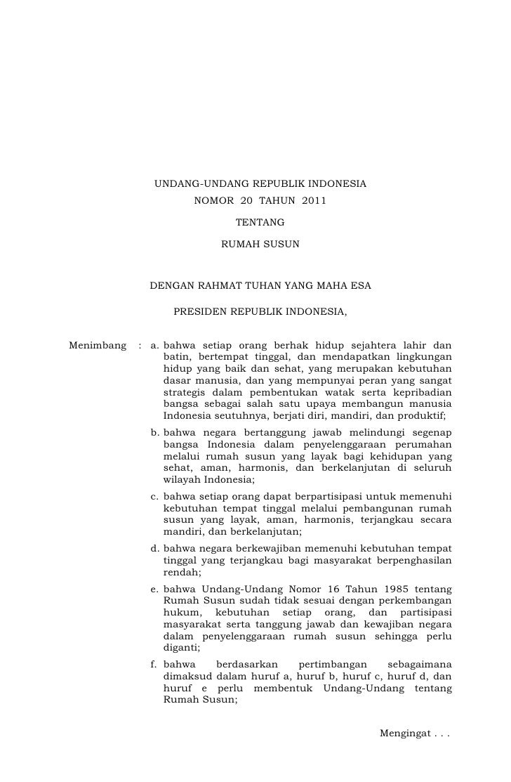 UNDANG-UNDANG REPUBLIK INDONESIA                       NOMOR 20 TAHUN 2011                               TENTANG          ...