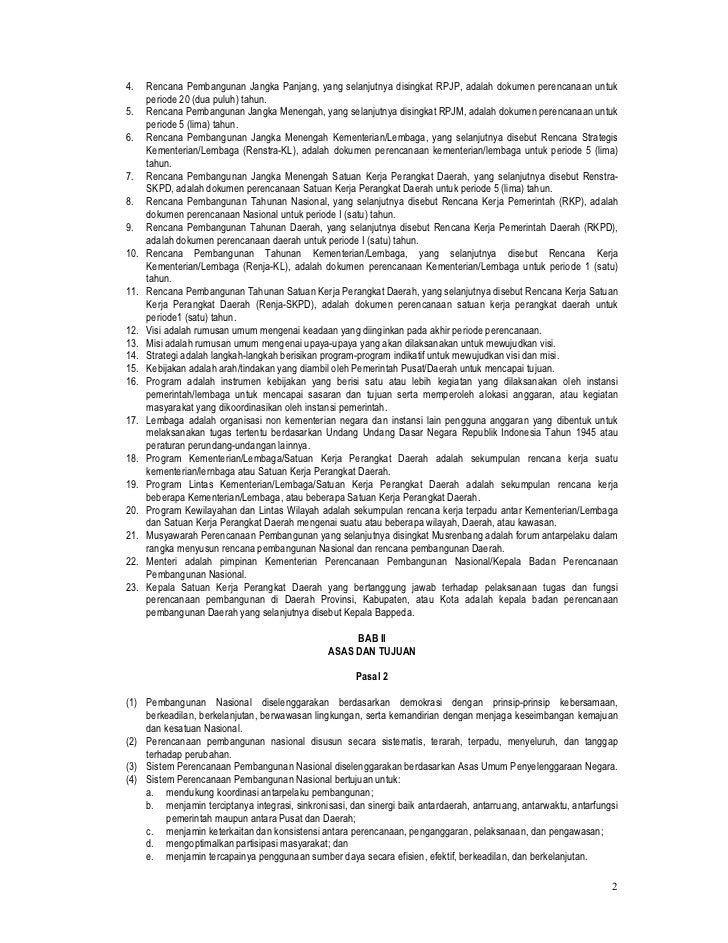 UU No. 25 Tahun 2004 tentang Sistem Perencanaan Pembangunan Nasional Slide 2