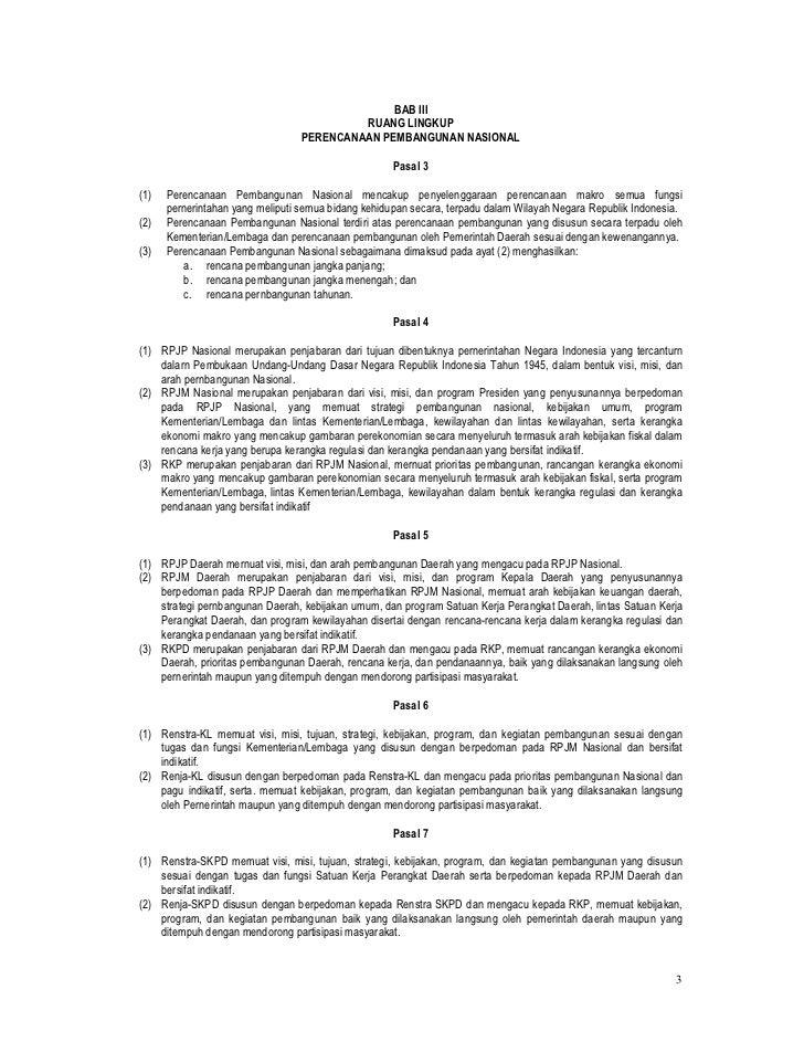 UU No. 25 Tahun 2004 tentang Sistem Perencanaan Pembangunan Nasional Slide 3
