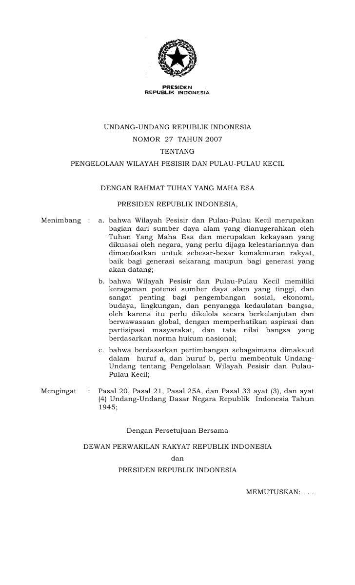UNDANG-UNDANG REPUBLIK INDONESIA                           NOMOR 27 TAHUN 2007                                   TENTANG  ...