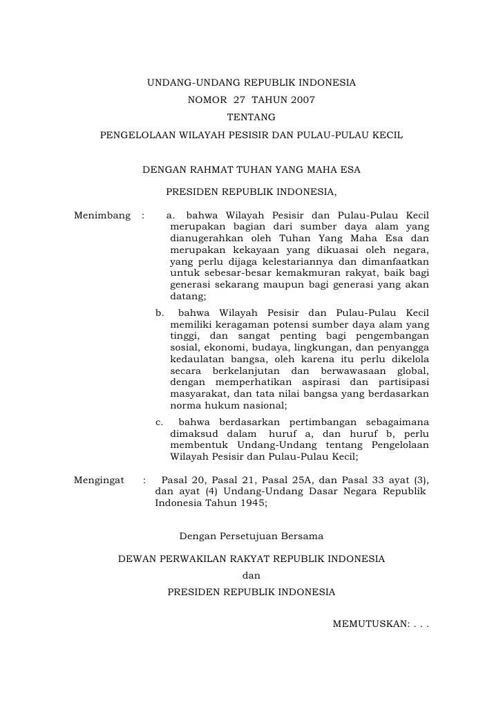 UNDANG-UNDANG REPUBLIK INDONESIA                          NOMOR 27 TAHUN 2007                                 TENTANG    P...