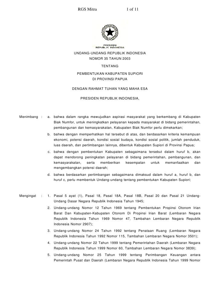RGS Mitra                    1 of 11                                    UNDANG-UNDANG REPUBLIK INDONESIA                  ...