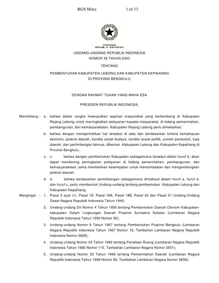 RGS Mitra                    1 of 13                                    UNDANG-UNDANG REPUBLIK INDONESIA                  ...