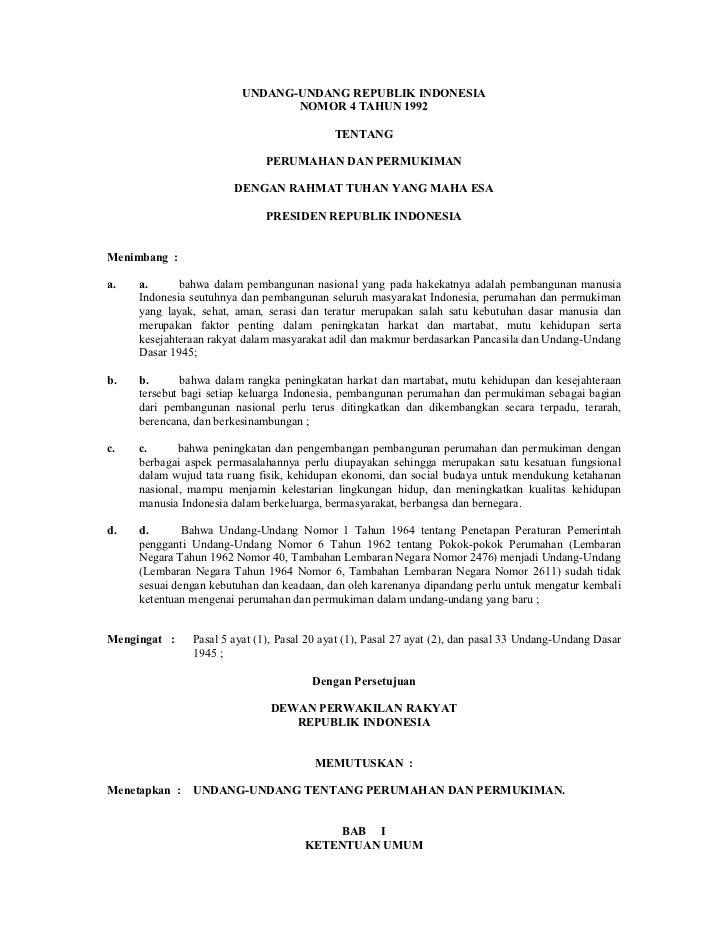 UNDANG-UNDANG REPUBLIK INDONESIA                                NOMOR 4 TAHUN 1992                                        ...