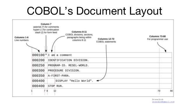 @reselbob reselbob@gmail.com COBOL's Document Layout