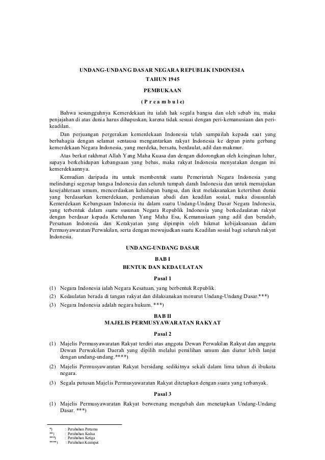 UNDANG-UNDANG DASAR NEGARA REPUBLIK INDONESIA                                          TAHUN 1945                         ...